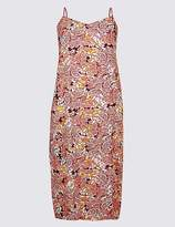 Marks and Spencer CURVE Floral Print Slip Midi Dress