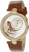 Akribos XXIV Women's AK602BR Lady Diamond Parrot Dial Swiss Quartz Leather Strap Watch