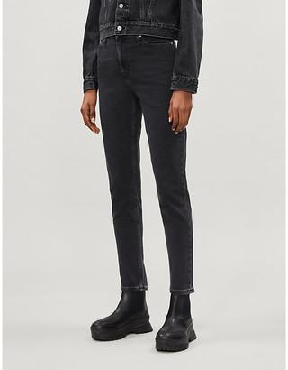 Calvin Klein Brand-embroidered skinny-high-rise stretch-denim jeans