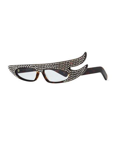 Gucci Acetate Angled Optical Frames w/ Crystals