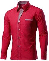 BSNQA Mens Slim Fit Cotton Flannel Tailored Dress Shirt (XS, )