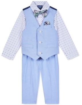 Nautica Baby Boys 4-Pc. Printed Shirt, Vest, Pants & Plaid Bow Tie Set