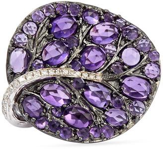Michael Aram Botanical Leaf Amethyst Ring with Diamonds, Size 9