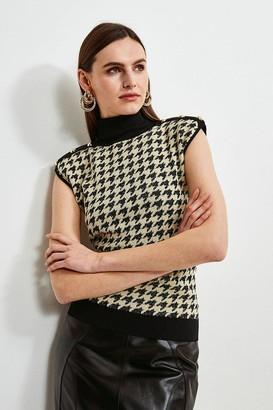 Karen Millen Textured Jacquard Shoulder Pad Jumper