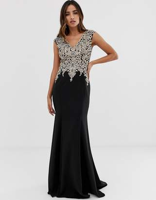 Jovani embellished top maxi dress with fitted skirt-Black