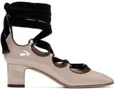 Valentino Garavani Valentino Pink Patent and Velvet Ghillie Heels