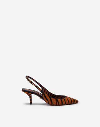 Dolce & Gabbana Tiger Print Slingbacks In Pony-Style Calfskin