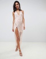 Asos Design DESIGN Embellished Sequin Wrap Maxi Dress