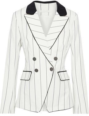 Jonathan Simkhai Double-breasted Pinstriped Cotton-blend Blazer