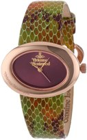 Vivienne Westwood Ellipse Women's Quartz Watch with Red Dial Analogue Display and Multicolour Leather Strap VV014RS