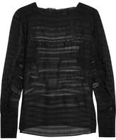 Isabel Marant Rivera Ruffled Organza And Lace Blouse - Black