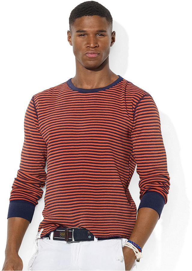 Polo Ralph Lauren Shirt, Long-Sleeved Striped Waffle-Knit Crew Neck T-Shirt