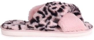 Linzi FREE - Pink Leopard Print Fluffy Crossover Slippers