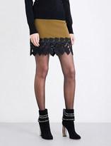 David Koma Lace-panelled wool-blend skirt