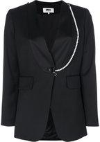 MM6 MAISON MARGIELA contrast embellished trim blazer - women - Polyester/Spandex/Elastane/Viscose/Virgin Wool - 44