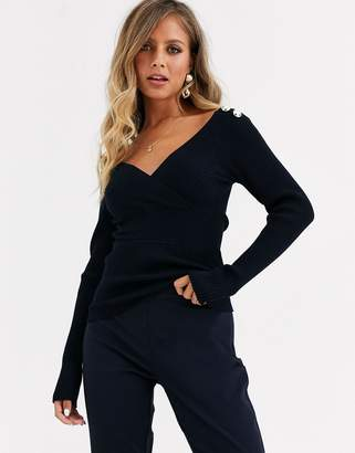 Morgan long sleeve wrap front slim rib knitted top with button shoulder detail in navy