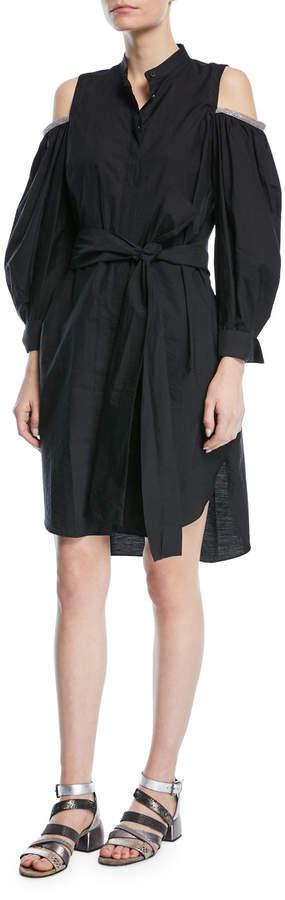 Brunello Cucinelli Crinkled Cotton Cold-Shoulder Long-Sleeve Shirtdress