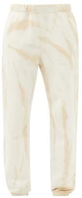 LES TIEN Tie-dye Brushed-back Cotton Track Pants - Beige