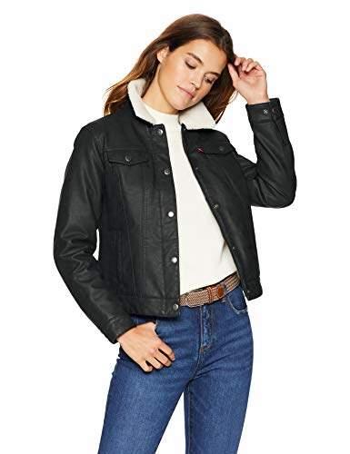 Levi's Ladies Outerwear Women's Classic Sherpa Lined Faux Leather Trucker Jacket
