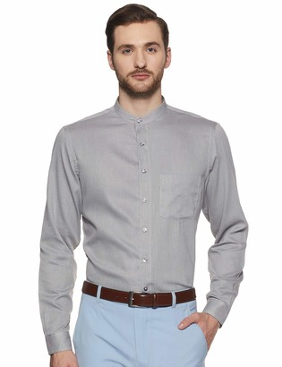 Shaftesbury London Men's Regular Fit Long Sleeves Banned Collar Dress Shirt 15 Brown