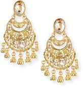 Oscar de la Renta Golden Crystal Filigree Drop Earrings