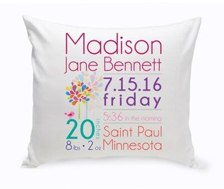 JDS Personalized Gifts Personalized Baby Girl Announcement Square Cotton Pillow Cover & Insert