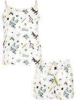 River Island Girls Cream doodle cami pyjama set