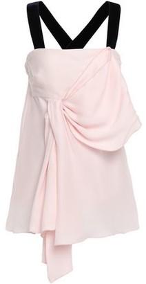 Roksanda Velvet-trimmed Draped Silk-organza Top