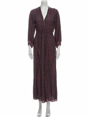 Natalie Martin Floral Print Long Dress Purple