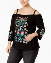 INC International Concepts Plus Size Embroidered Cold-Shoulder Top, Created for Macy's