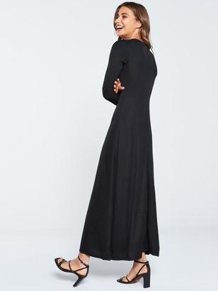 Very Ribbed Jersey Maxi Dress - Black