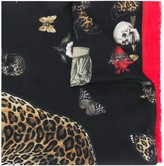 Alexander McQueen leopard skull printed scarf