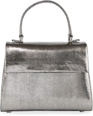 Nancy Gonzalez Small Metallic Lizard Top Handle Bag