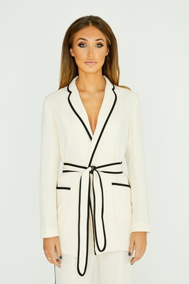 Studio Mouthy White Belted Blazer With Piping