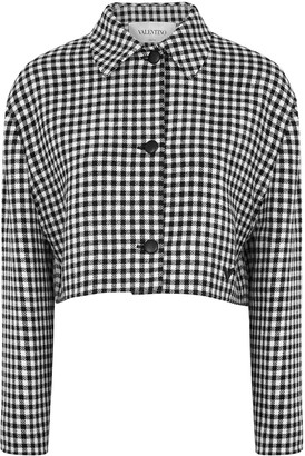 Valentino Monochrome Checked Wool-blend Jacket