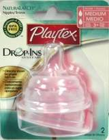 Playtex Drop-Ins NaturaLatch Silicone Nipple - Medium Flow (4-Pack)