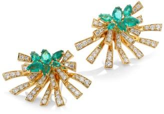 Hueb Mirage Diamond & Green Emerald Stud & Ear Jacket Set