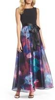 Ellen Tracy Women's Floral Splash Mixed Media Maxi Dress