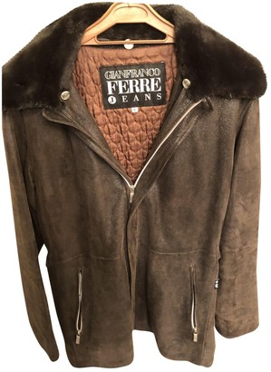 Gianfranco Ferre Brown Leather Coat for Women