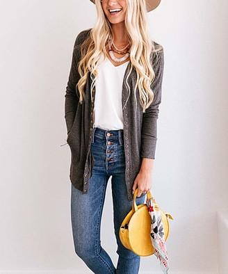 So Perla Affordable So Perla Affordable Women's Cardigans Charcoal - Charcoal Long Snap Pocket Cardigan - Women