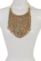 Natasha Accessories Multicolor Beaded Fringe Frontal Necklace