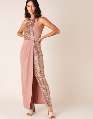 Monsoon Kaitlyn Sequin Panel Stretch Maxi Dress Pink
