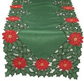 Xia Home Fashions Holly Leaf Poinsettia Embroidered Cutwork Christmas Table Runner, 15-Inch by 72-Inch