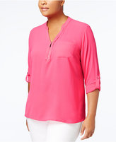 NY Collection Plus Size Zip-Detail Shirt