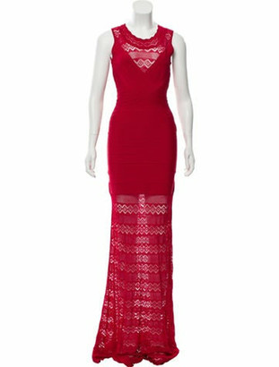 Herve Leger 2019 Lace-Trimmed Gown Red