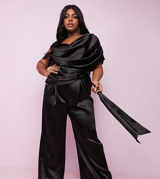 Asos DESIGN Curve Luxe premium satin wide leg drape jumpsuit with self tie belt-Black