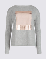 M&S Collection Textured Foil Placement Sweatshirt
