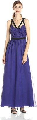 Jill Stuart Jill Women's Strappy Colorblock Silk Chiffon Gown