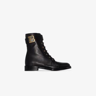 Balmain Black Ranger Lace-Up Leather Boots