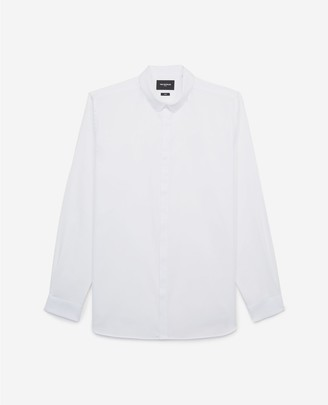 The Kooples Slim-fit white cotton shirt with round collar